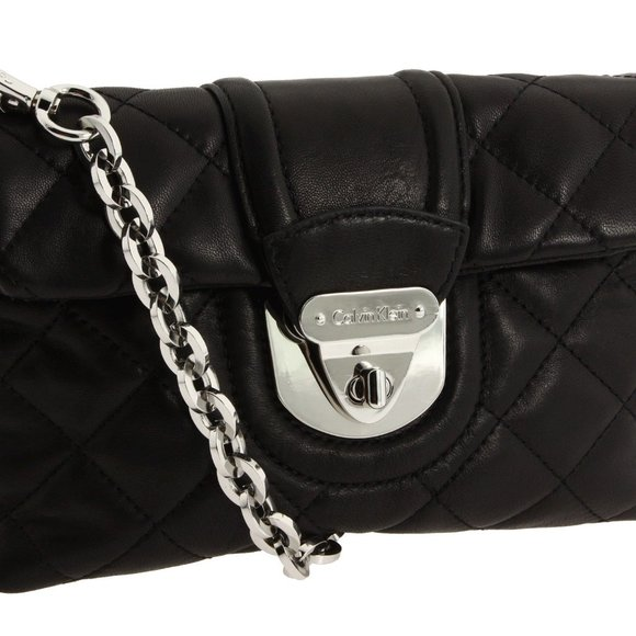 Chelsea Quilted Black Leather Cross Body Bag